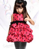Fashion flared dress for girls dot sleeveless princess dresses summer sundress childrens wear