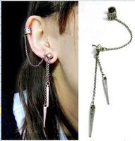 Fashion punk tassel rivet pendant clip earrings