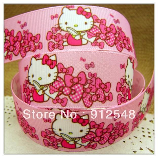 "free shipping7/8""(22mm)Hello Kitty stars Printed Grosgrain Ribbon,gift package,Garment accessories,Hair ribbon,satin bow,ntab022(China (Mainland))"