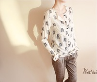 2013 spring fashion tiger print medium-long pullover shirt