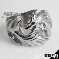Vintage titanium male finger ring flame 316l stainless steel ring dragon design vintage