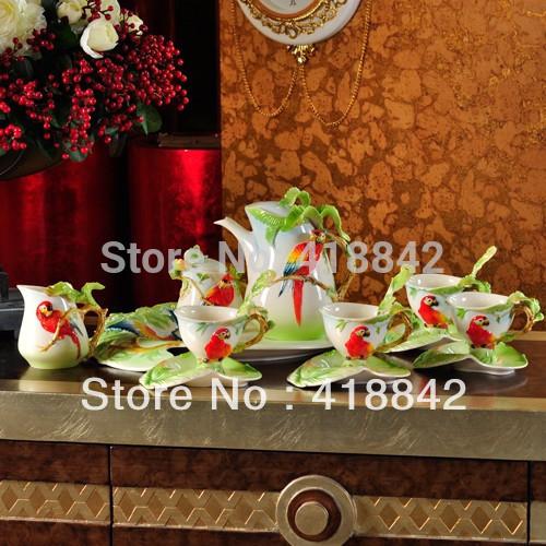 Full Set Porcelain Scarlet Macaw Parrot Coffee Set 4Cup 4Saucer 1Creamer 1Sugar Bowl 1Pot 1Platter 4Spoon