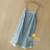 2013 summer women's vivi embroidery polka dot spaghetti strap denim one-piece dress