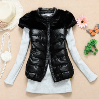 Black rex rabbit hair thickening down patchwork short-sleeve Women cotton vest  waistcoat 2013autumn and winter