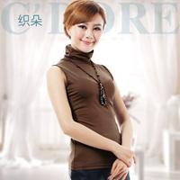 Grey sleeveless turtleneck basic shirt female spring and autumn fashion women's pullover 2013 xiaxin ,Free shipping