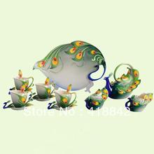 Full Set Porcelain Graceful Peacock Coffee Set 4Cup/4Saucer/1Creamer/1Sugar Bowl/1Pot/1Platter/4Spoon