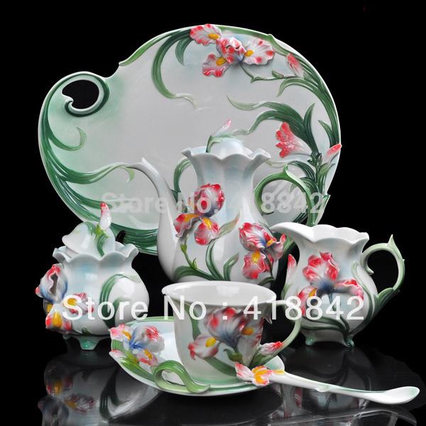 Full Set Porcelain Iris Flower Coffee Set 4Cup 4Saucer 1Creamer 1Sugar Bowl 1Pot 1Platter 4Spoon Christmas