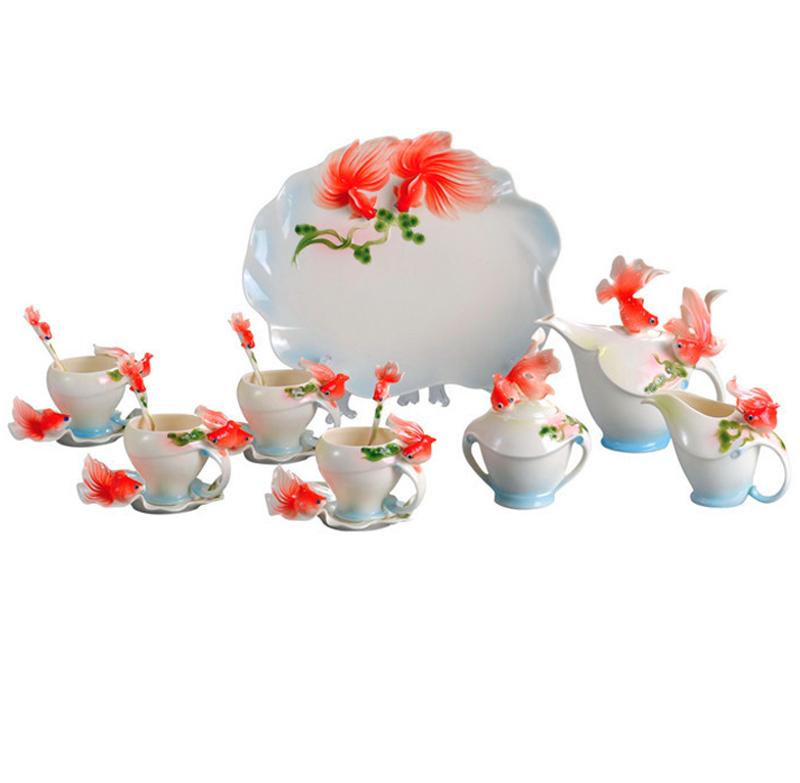 Full Set Porcelain Goldfish Coffee Set 4Cup 4Saucer 1Creamer 1Sugar Bowl 1Pot 1Platter 4Spoon
