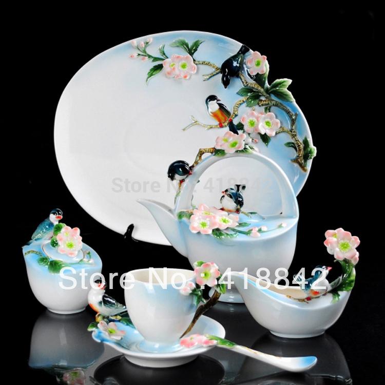Full Set Porcelain Pink Sakura Flower Petal Coffee Set 4Cup 4Saucer 1Creamer 1Sugar Bowl 1Pot 1Platter