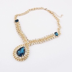 Min.order is $10 (mix order) N448 Fashion Europe retro water drop rhinestone necklace Wholesale !Free shipping!(China (Mainland))