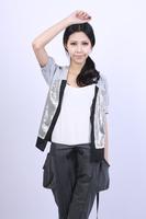 Summer fashion sequin belt cape type short-sleeve sweater cardigan s135