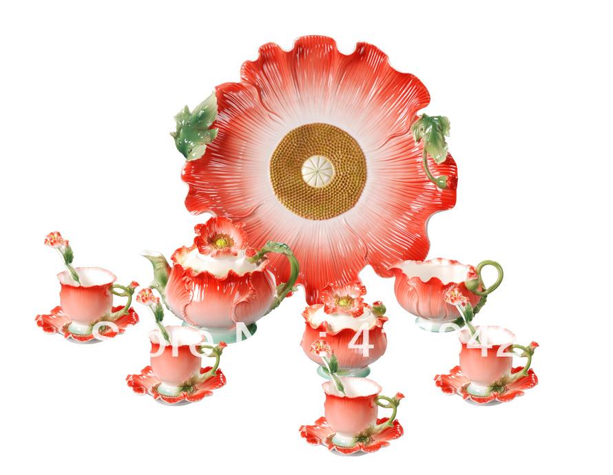Full Set Porcelain Iceland Poppy Coffee Set 4Cup 4Saucer 1Creamer 1Sugar Bowl 1Pot 1Platter 4Spoon