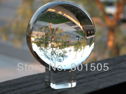 2&quot;(50mm) Feng Shui Clear Solid Crystal Ball Sphere w/ free Crystal Stand for Collection/Gift(China (Mainland))
