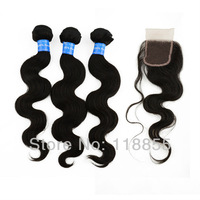 4pcs/lot, Peruvian virgin body wave hair weave bundles 3pcs with 1 piece free Peruvian Lace Top Closure 4x3.5 1b free shipping