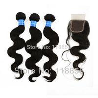 4pcs/lot, Peruvian virgin body wave hair weave bundles 3pcs with 1 piece free Peruvian Lace top Closure 4x4 1b free shipping