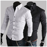Free Shipping New Men's Shirts,Classics Small Dot Shirts,Casual Slim Fit Stylish Dress Shirts Color:White,Black M-XXL MCL035