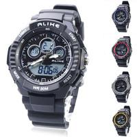 ALIKE 50M Waterproof Analog-Digital Sport men's Watch 5 Colors With Dual Movement/Stopwatch/Calendar/Week/Alarm/EL Backlight