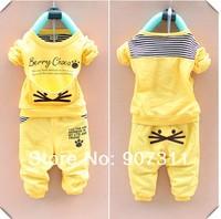 free shipping 2013 Children's clothing sets boys girls sport suit 80-110 girls' t-shirt+pant=set girl clothing set spring suit