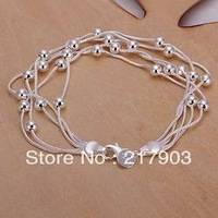 H234 Wholesale! Free Shipping Wholesale 925 silver bracelet, 925 silver fashion jewelry Five Line Gloss Ball Bracelet