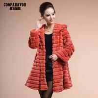 Free shiping female long rex rabbit design with a hood fur coat rabbit fur long-sleeve