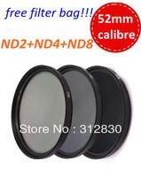 Free shipping 52mm 3pcs Neutral Density ND Filter kit (ND2 ND4 ND8)+free bag