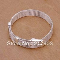H237 Wholesale! Free Shipping Wholesale 925 silver bracelet, 925 silver fashion jewelry Small Web Watch Belt Bracelet