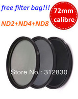 Free shipping 72mm ND2 ND4 ND8 Neutral Density ND Filter kit +free bag