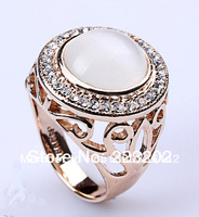 Vintage Rose Gold Plated Big White Opal Finger Rings Made With Australia Crystal For Women Or Men WNR005
