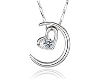 Wholesale Simple pendant nobleelegance zircon new moon or love heart pendant with high quality platina plated free  - 22A086