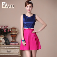 DHL/EMS Free Shipping stitching Slim sleeveless Colorblock dress with White Belt