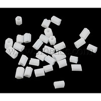 Glass Bugle Beads,  Seed Beads,  White,  about 3mm long,  1.8mm in diameter,  hole: 0.6mm