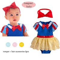Free shipping top brand fashion baby girls new arrival Snow White tutu dress romper + headband cute sweet clothing set suit