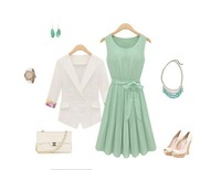 Women Elegant Mint Green Dress Sleeveless Chiffon Pleated Dress Free Bow Belt