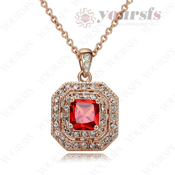 Free Shipping Promotion gift Vantage Ruby Jewelry 18K Rose GP Austria Crystal Pendant Necklace N400R2(China (Mainland))