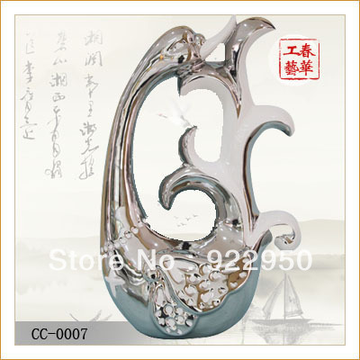 Ceramic Crafts Home Decoration Porcelain Decoration Swon Type Handmade silver-plating Modern Fashionable Artistic(China (Mainland))