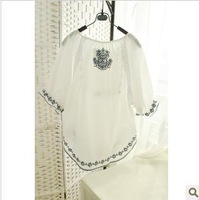 Focus juese meihekoushi 2013 embroidery accordion white flare sleeve cute shirt