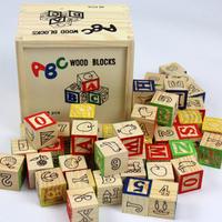 wooden letters building block sets 48 letter educational blocks box wooden   Embossed Alphabet Blocks