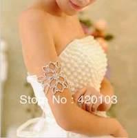 Korean female armlet bridal shoulder chain wedding headwear arm ornaments princess necklace pearl clavicle chain #5105