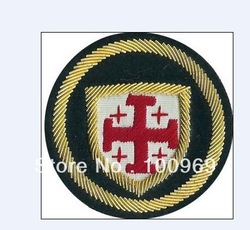 New arrive 3D puff embroidery patch with gold metallic thread with heat seal backing high quality(China (Mainland))