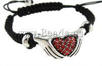 Fashion Shamballa Bracelet, wax cord & rhinestone beads, heart design, nickel, lead & cadmium free, 34x16mm, Sold per 7.5-Strand