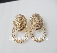 2013 Hot! Fashion lion head stud earrings, gold colors Girls Fashion Ear Accessories Trend Jewelry