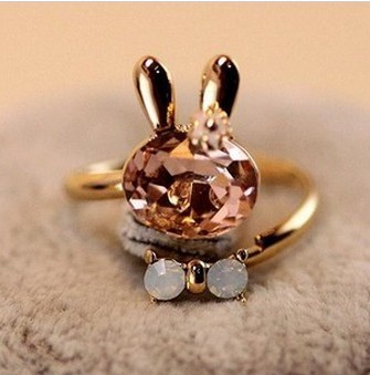 hot 2014 accessories crystal rabbit bow ring rhinestone finger ring opening 3009