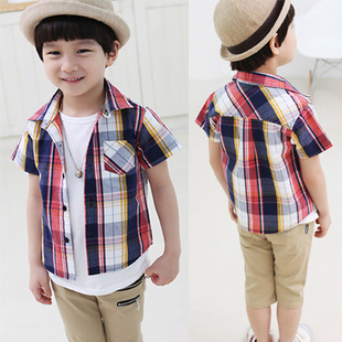 Free Shipping 2pcs/lot 2013 summer new arriver male child  multicolour plaid  children's blouse with cotton fabric