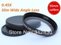 Free shipping Slim 55mm 0.45X Slim Wide Angle Lens Clearing Dark Corner for Sony 18-55mm 18-70mm 55-200mm 75-300mm lens