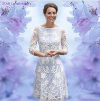 2013 Spring &Summer Kate Middleton Kate Dress Fashion OL Slim White Lace Dress FREESHIPPING