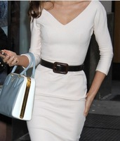 1pcs 2013 fashion White V Neck Slim Open Back Career 3/4 sleeve Women Dresses Bodycon Dress+Belt 70644-70647