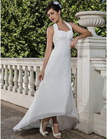 Listen ! Smelling... Yesterday Once M......Sheath/ Column Empire Halter Asymmetrical Chiffon Wedding Dress with Beaded Appliques
