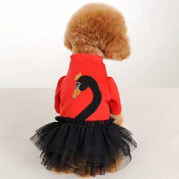 Free shipping new puppy puff dog princess swan sweet dress clothes pet teddy poodle black