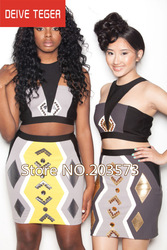 (Deive teger )Free shipping 2013 Gray & gold bodycon tribal two piece bandage Celebrity dress Cocktail Party Dresses HL597(China (Mainland))