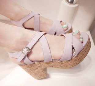 Women's shoes platform cross straps wedges sandals high-heeled platform thick heel shoes(China (Mainland))